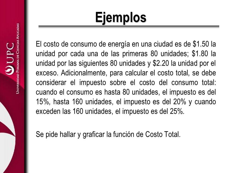 Ejemplos El costo de consumo de energía en una ciudad es de $1.50 la unidad por cada una de las primeras 80 unidades; $1.80 la unidad por las siguient