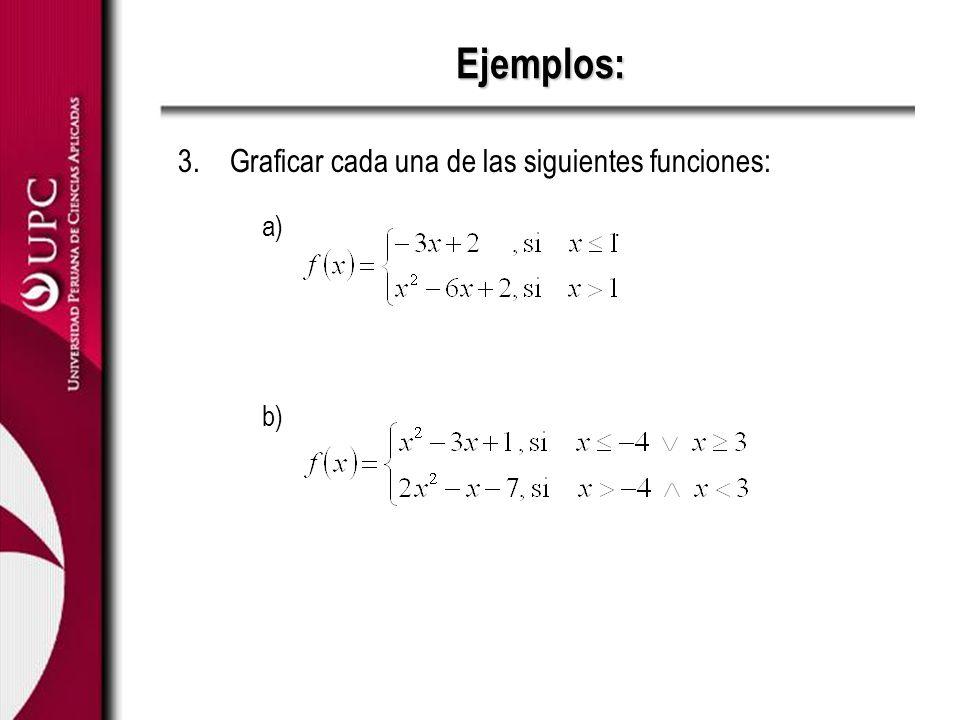 Ejemplos: 3.Graficar cada una de las siguientes funciones: a). b)