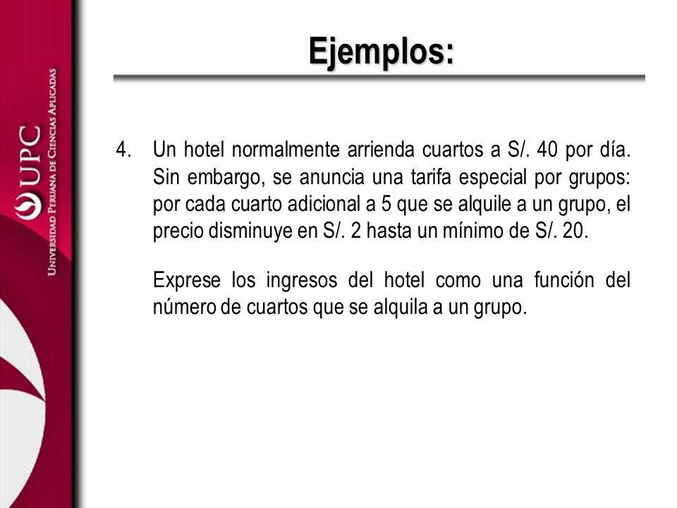 Ejemplos: 4.Un hotel normalmente arrienda cuartos a S/. 40 por día. Sin embargo, se anuncia una tarifa especial por grupos: por cada cuarto adicional