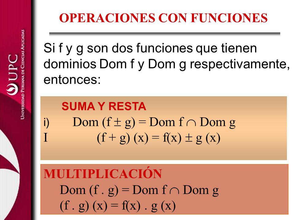 COCIENTE: Dom (f / g) = Dom f [x Dom g / g(x) 0} = (Dom f Dom g) – {x Domg / g (x) = 0} i) (f / g) (x) =, x Dom (f/g)