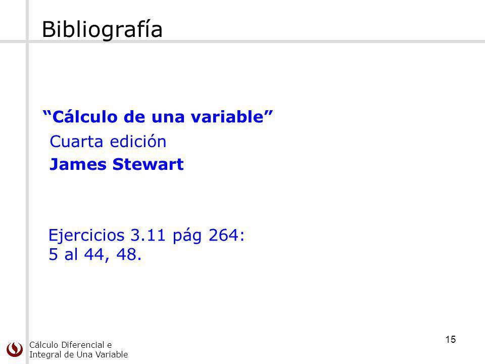 Cálculo Diferencial e Integral de Una Variable Bibliografía Cálculo de una variable Cuarta edición James Stewart Ejercicios 3.11 pág 264: 5 al 44, 48.
