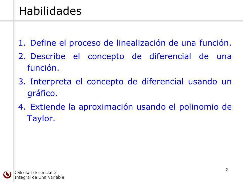 Cálculo Diferencial e Integral de Una Variable Habilidades 1.