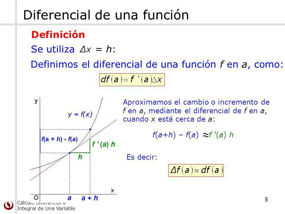 Cálculo Diferencial e Integral de Una Variable Diferencial de una función a a + h f (a) h h f(a + h) - f(a) Aproximamos el cambio o incremento de f en a, mediante el diferencial de f en a, cuando x está cerca de a: f(a+h) – f(a) f (a) h Es decir: Definimos el diferencial de una función f en a, como: Se utiliza = h: Definición 5