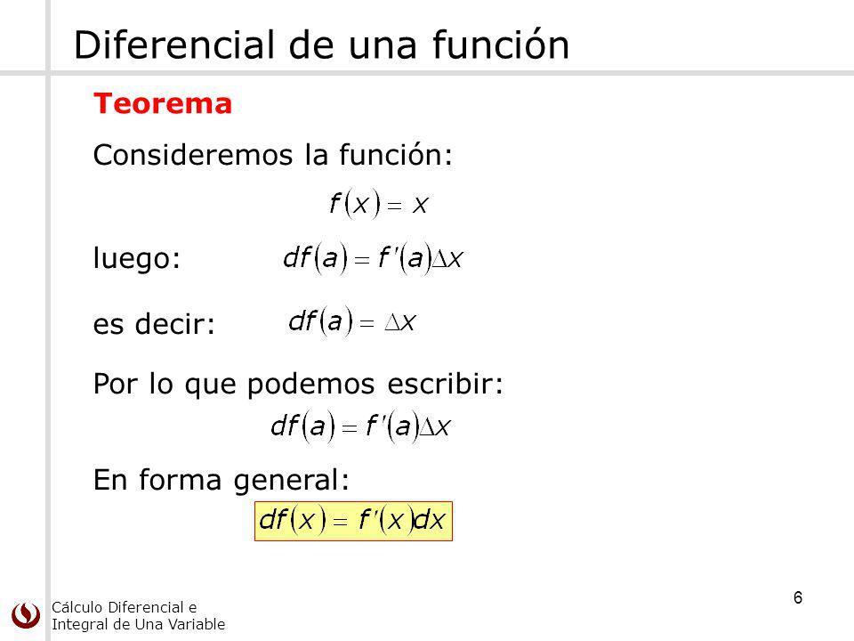 Cálculo Diferencial e Integral de Una Variable Diferencial de una función Consideremos la función: Teorema 6 es decir: luego: Por lo que podemos escribir: En forma general: