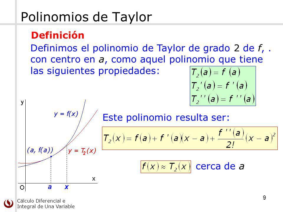 Cálculo Diferencial e Integral de Una Variable Polinomios de Taylor Este polinomio resulta ser: cerca de a a 2 x Definimos el polinomio de Taylor de grado 2 de f,.