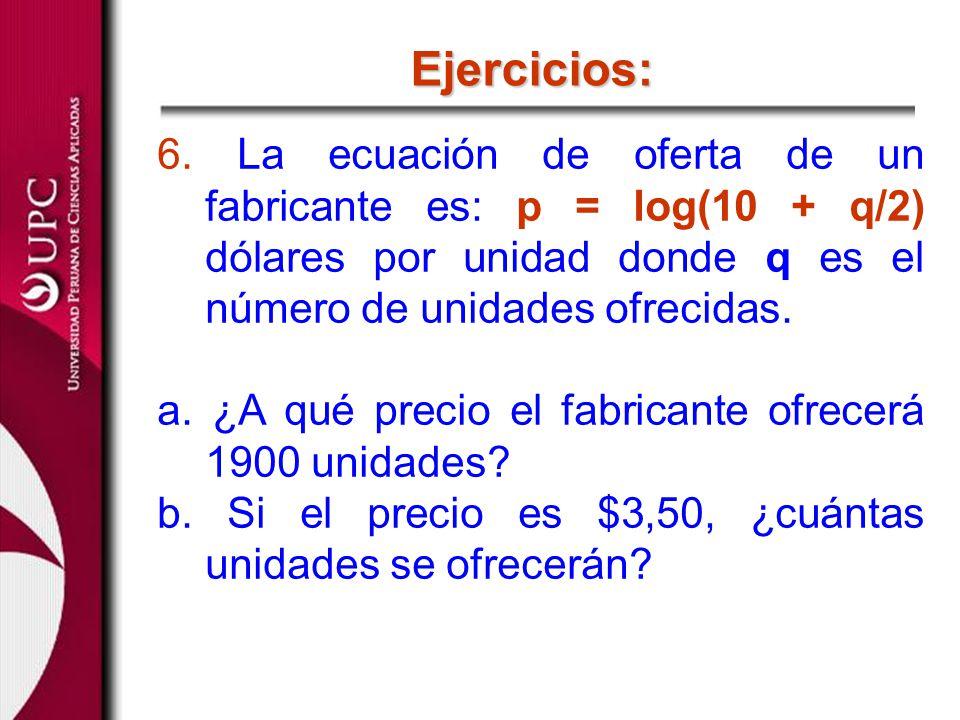 6. La ecuación de oferta de un fabricante es: p = log(10 + q/2) dólares por unidad donde q es el número de unidades ofrecidas. a. ¿A qué precio el fab