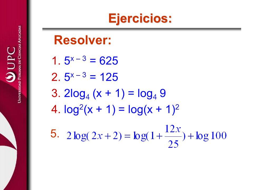 Ejercicios: Resolver: 1.5 x – 3 = 625 2.5 x – 3 = 125 3.2log 4 (x + 1) = log 4 9 4.log 2 (x + 1) = log(x + 1) 2 5.