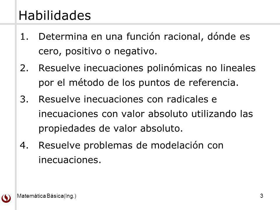Matemática Básica(Ing.)3 Habilidades 1.Determina en una función racional, dónde es cero, positivo o negativo. 2.Resuelve inecuaciones polinómicas no l