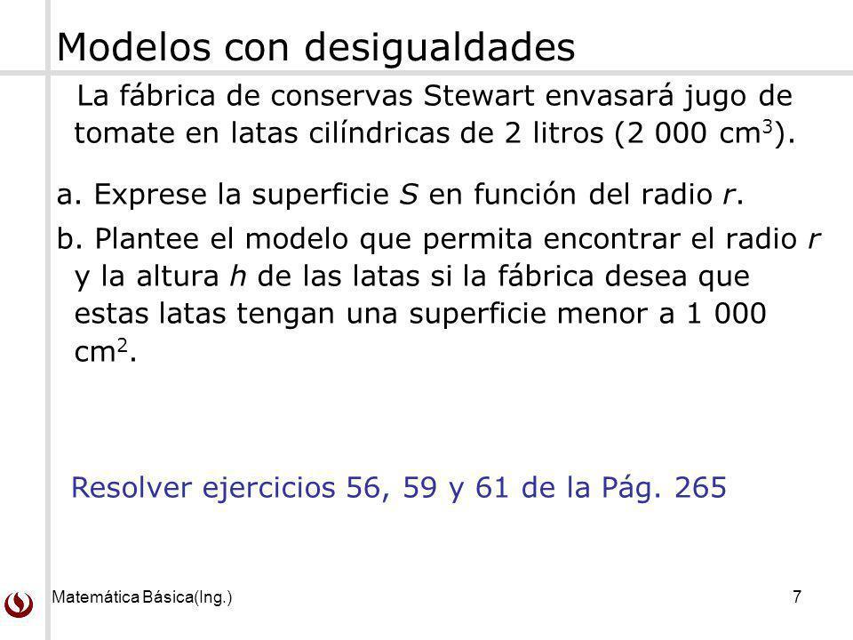 Matemática Básica(Ing.)8 Los alumnos deben revisar los ejercicios del libro texto guía.