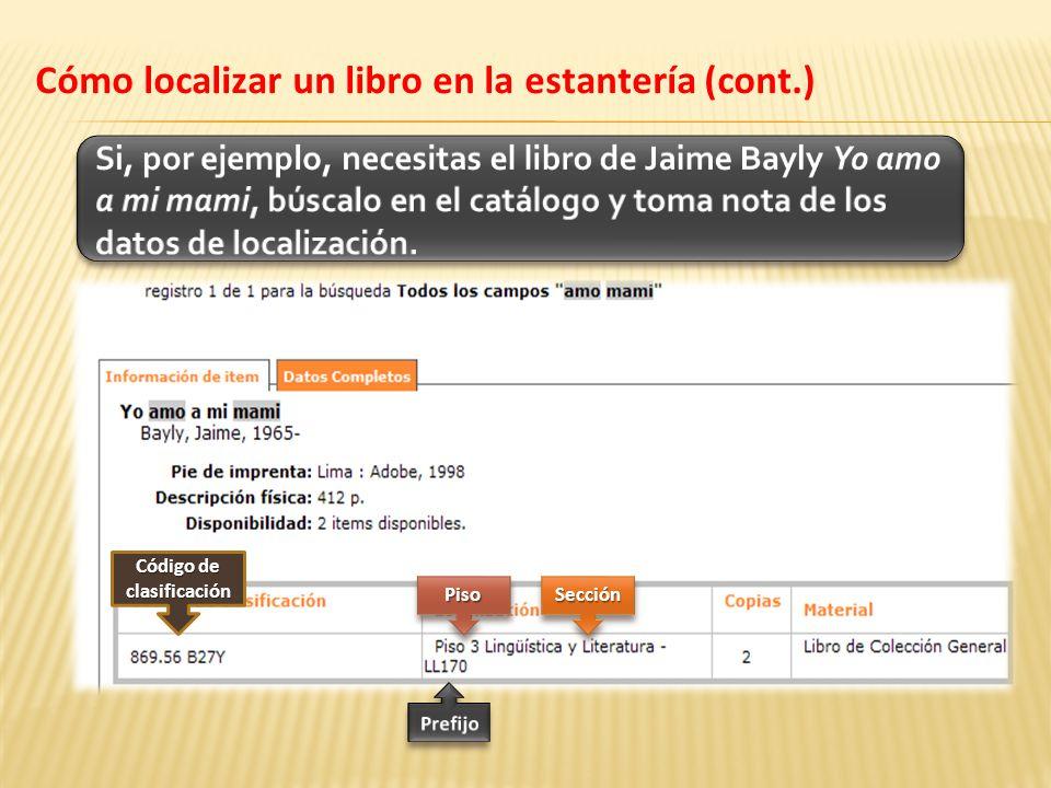 Código de clasificación PisoPisoSecciónSección Cómo localizar un libro en la estantería (cont.)