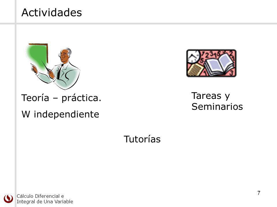 Cálculo Diferencial e Integral de Una Variable 7 Actividades Teoría – práctica.