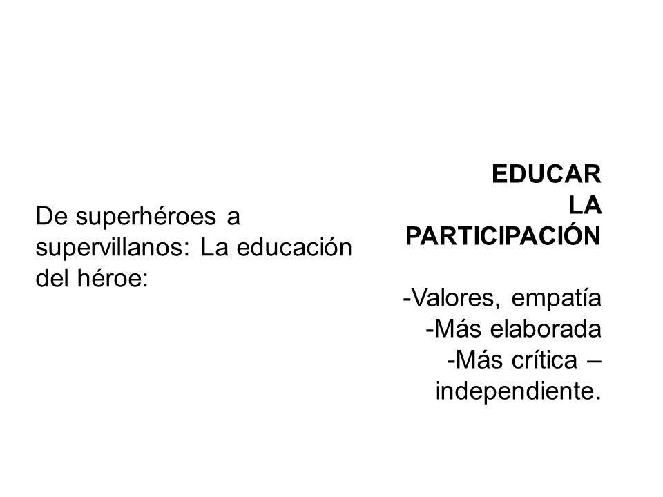 EDUCAR LA PARTICIPACIÓN -Valores, empatía -Más elaborada -Más crítica – independiente.