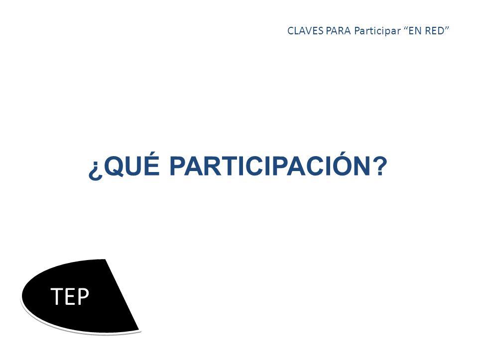 ¿QUÉ PARTICIPACIÓN CLAVES PARA Participar EN RED TEP