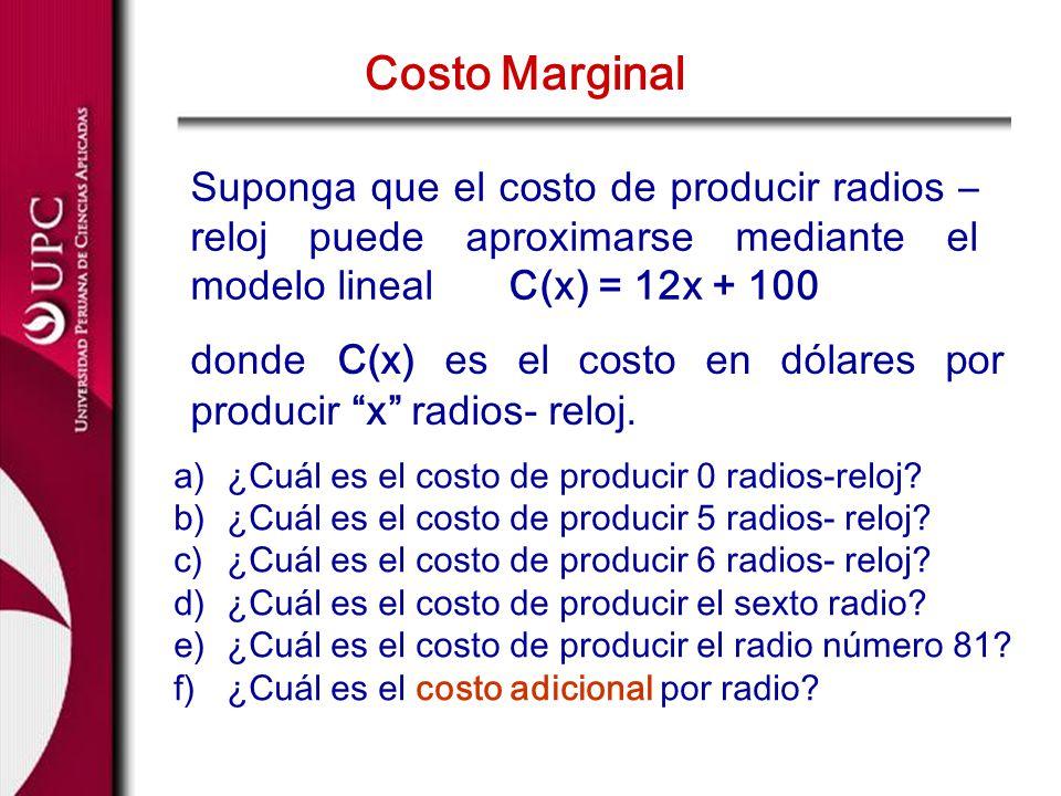 Suponga que el costo de producir radios – reloj puede aproximarse mediante el modelo lineal C(x) = 12x + 100 Costo Marginal a)¿Cuál es el costo de pro