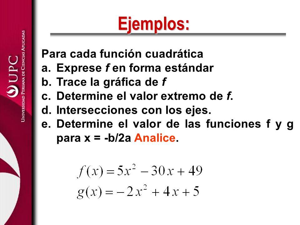 Para cada función cuadrática a.Exprese f en forma estándar b.Trace la gráfica de f c.Determine el valor extremo de f. d.Intersecciones con los ejes. e