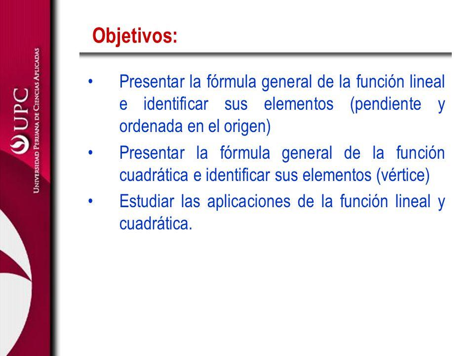 Objetivos: Presentar la fórmula general de la función lineal e identificar sus elementos (pendiente y ordenada en el origen) Presentar la fórmula gene