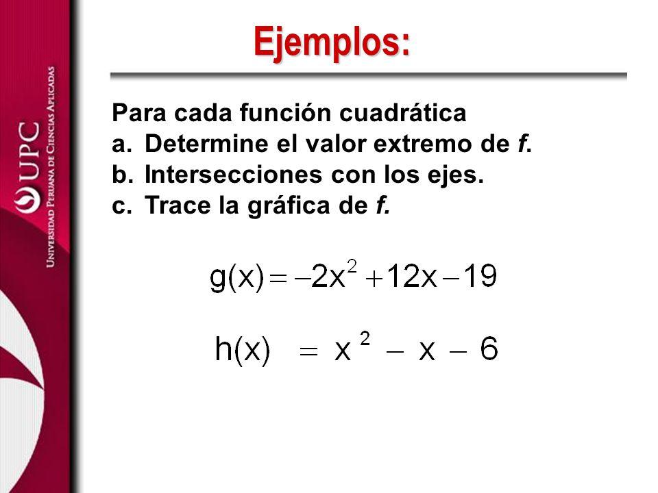Para cada función cuadrática a.Determine el valor extremo de f. b.Intersecciones con los ejes. c.Trace la gráfica de f. Ejemplos: