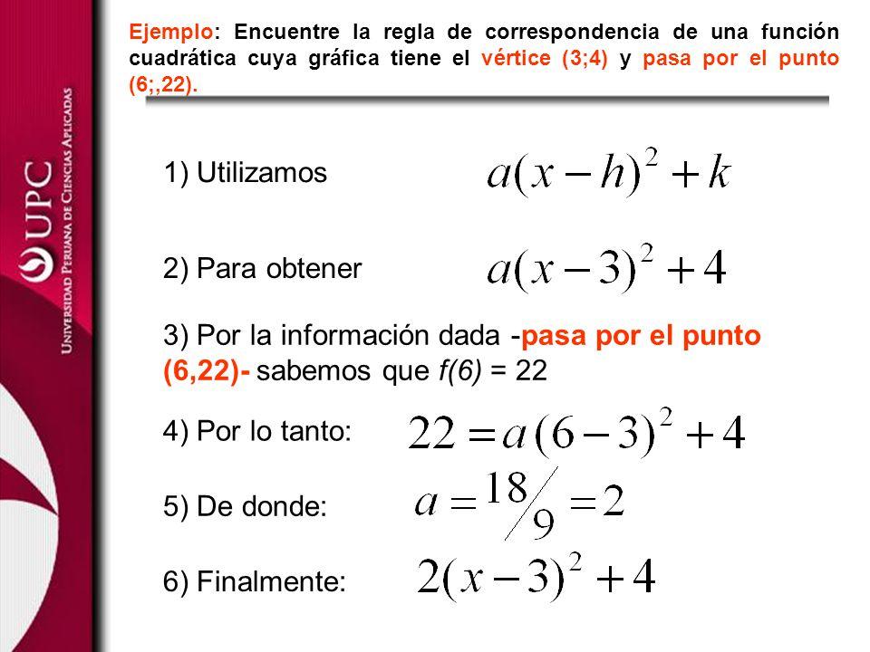 Ejemplo: Encuentre la regla de correspondencia de una función cuadrática cuya gráfica tiene el vértice (3;4) y pasa por el punto (6;,22). 1) Utilizamo