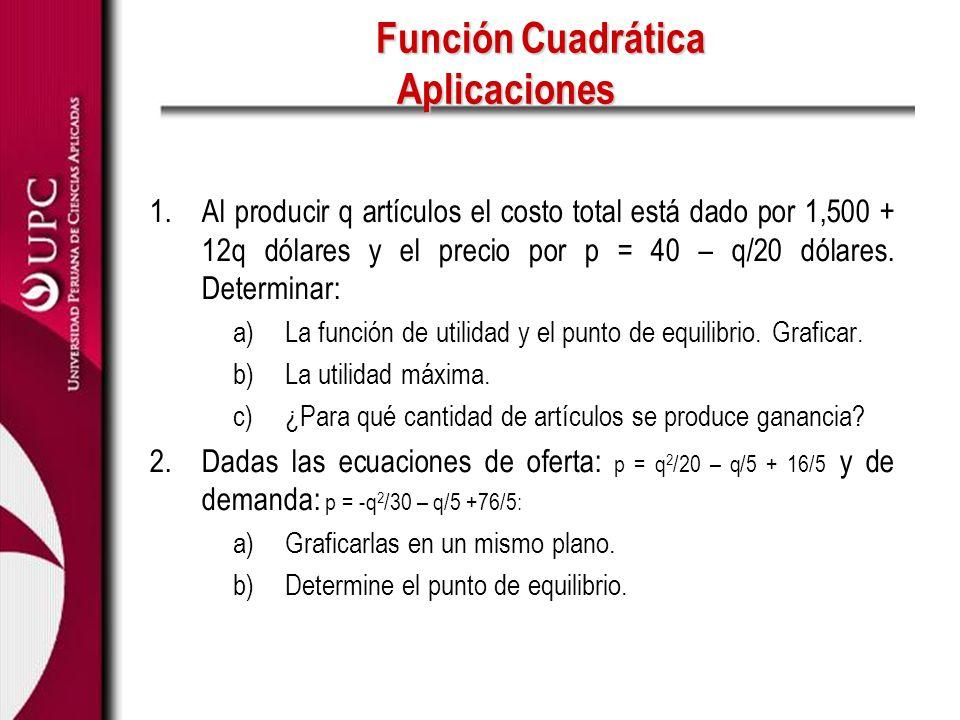 Función Cuadrática Aplicaciones 1.Al producir q artículos el costo total está dado por 1,500 + 12q dólares y el precio por p = 40 – q/20 dólares. Dete