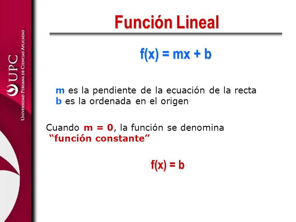 Función Lineal f(x) = mx + b m es la pendiente de la ecuación de la recta b es la ordenada en el origen Cuando m = 0, la función se denomina función c
