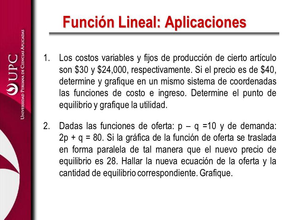 Función Lineal: Aplicaciones 1.Los costos variables y fijos de producción de cierto artículo son $30 y $24,000, respectivamente. Si el precio es de $4