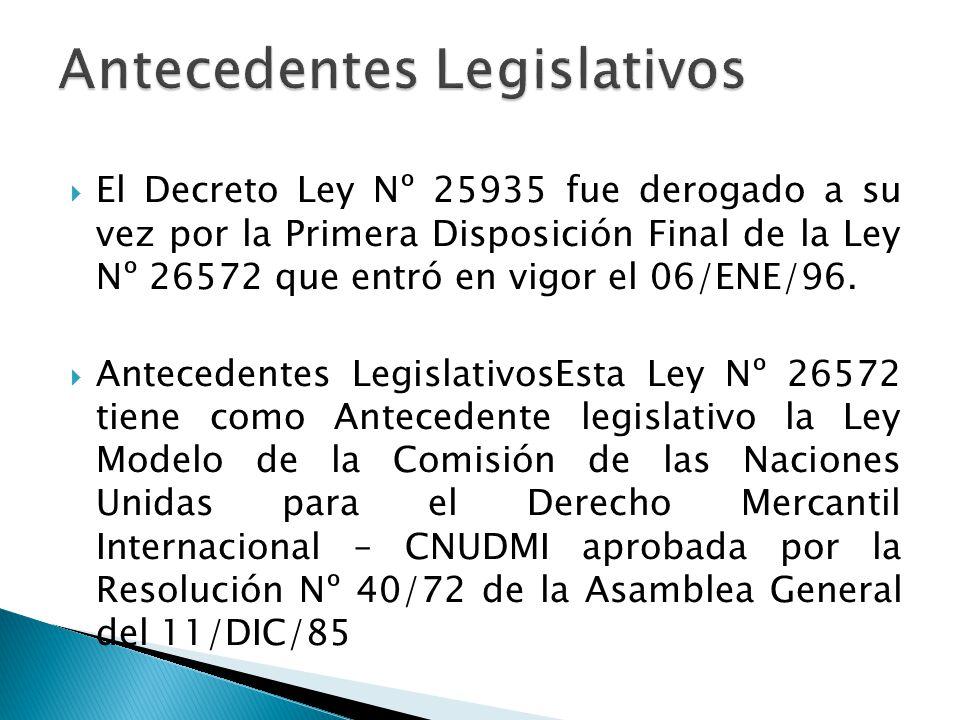 La ley Nº 26572 estuvo vigente hasta el 31 de agosto del 2008 pues fue derogada por la Disposición Derogatoria Unica del Decreto Legislativo Nº 1071.