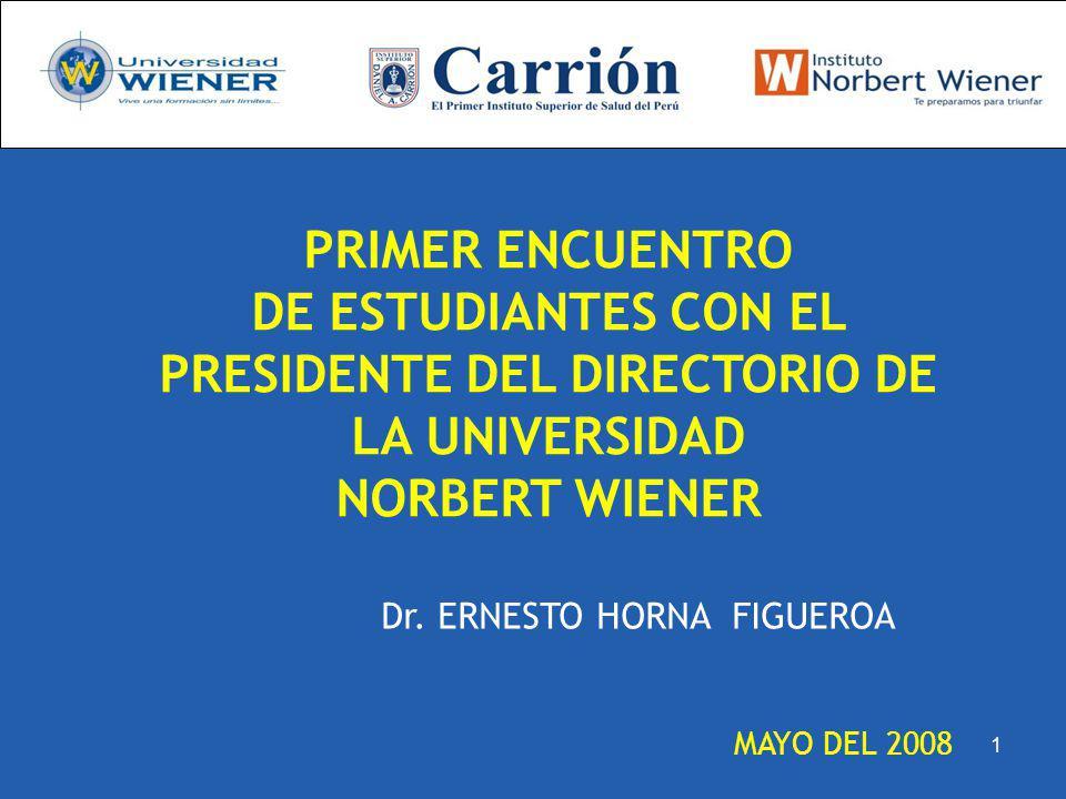 MAYO DEL 2008 Dr. ERNESTO HORNA FIGUEROA PRIMER ENCUENTRO DE ESTUDIANTES CON EL PRESIDENTE DEL DIRECTORIO DE LA UNIVERSIDAD NORBERT WIENER 1