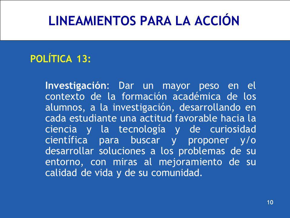 LINEAMIENTOS PARA LA ACCIÓN POLÍTICA 13: Investigación: Dar un mayor peso en el contexto de la formación académica de los alumnos, a la investigación,