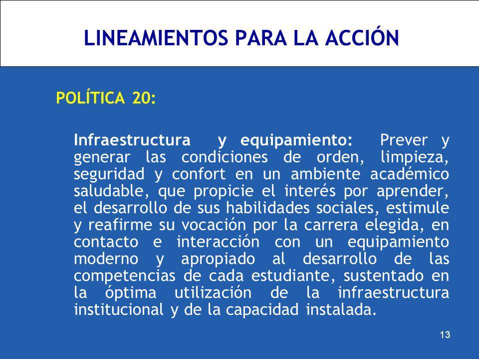 LINEAMIENTOS PARA LA ACCIÓN POLÍTICA 20: Infraestructura y equipamiento: Prever y generar las condiciones de orden, limpieza, seguridad y confort en u