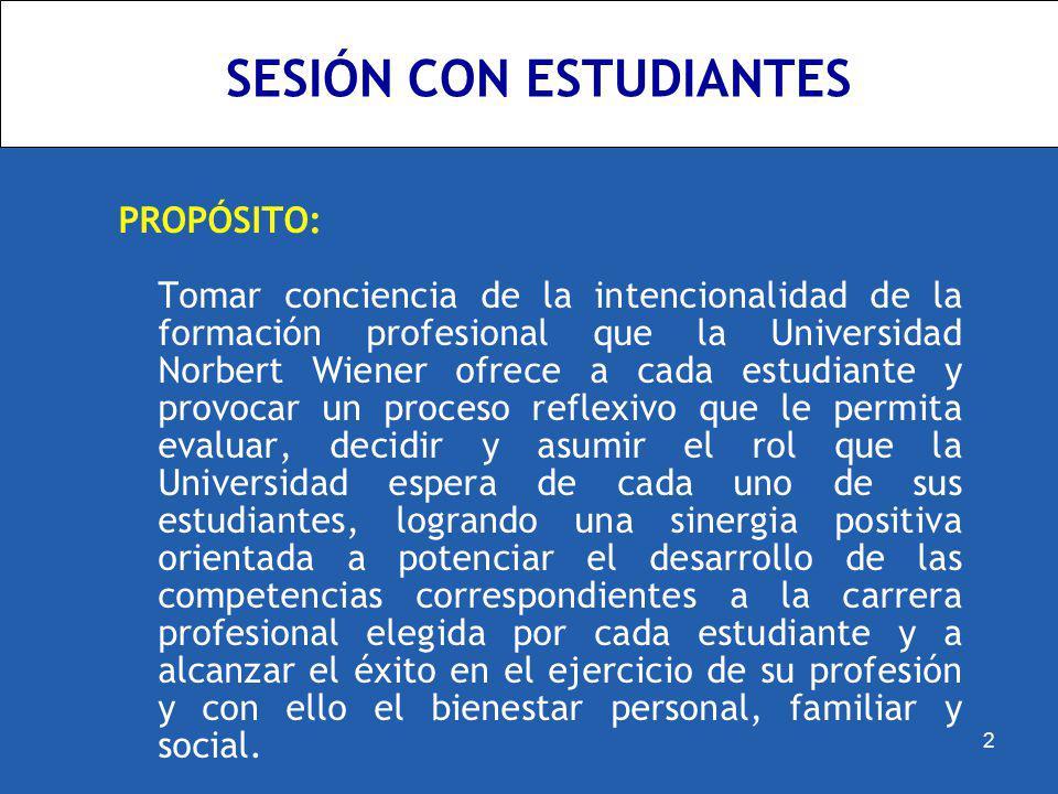 SESIÓN CON ESTUDIANTES PROPÓSITO: Tomar conciencia de la intencionalidad de la formación profesional que la Universidad Norbert Wiener ofrece a cada e