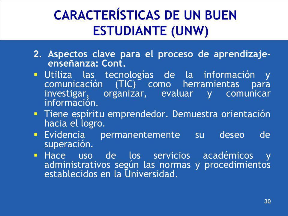 CARACTERÍSTICAS DE UN BUEN ESTUDIANTE (UNW) 2. Aspectos clave para el proceso de aprendizaje- enseñanza: Cont. Utiliza las tecnologías de la informaci