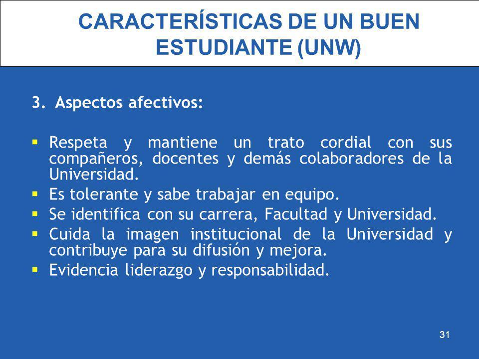 CARACTERÍSTICAS DE UN BUEN ESTUDIANTE (UNW) 3.Aspectos afectivos: Respeta y mantiene un trato cordial con sus compañeros, docentes y demás colaborador