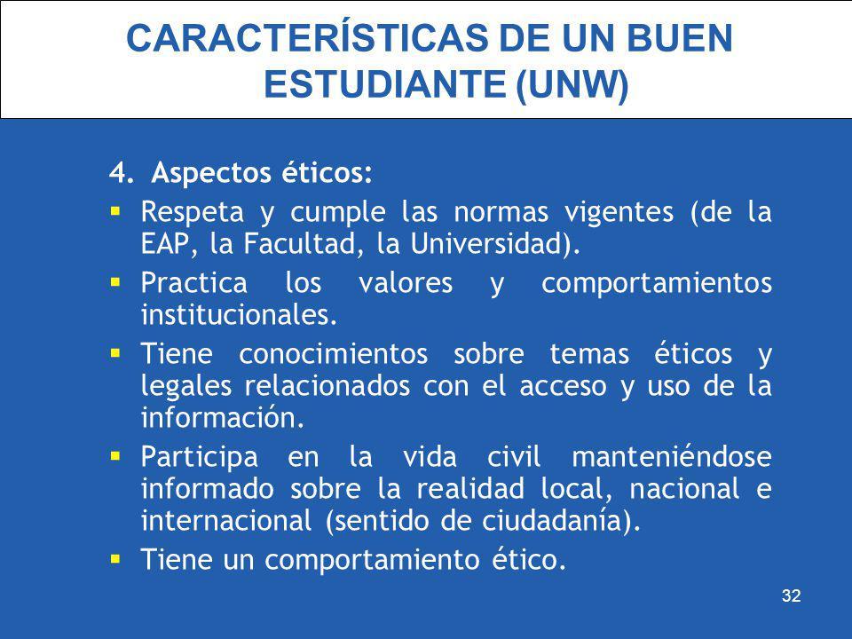 CARACTERÍSTICAS DE UN BUEN ESTUDIANTE (UNW) 4.Aspectos éticos: Respeta y cumple las normas vigentes (de la EAP, la Facultad, la Universidad). Practica