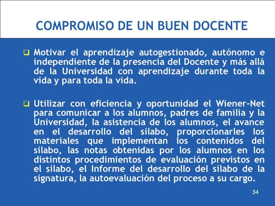 COMPROMISO DE UN BUEN DOCENTE Motivar el aprendizaje autogestionado, autónomo e independiente de la presencia del Docente y más allá de la Universidad