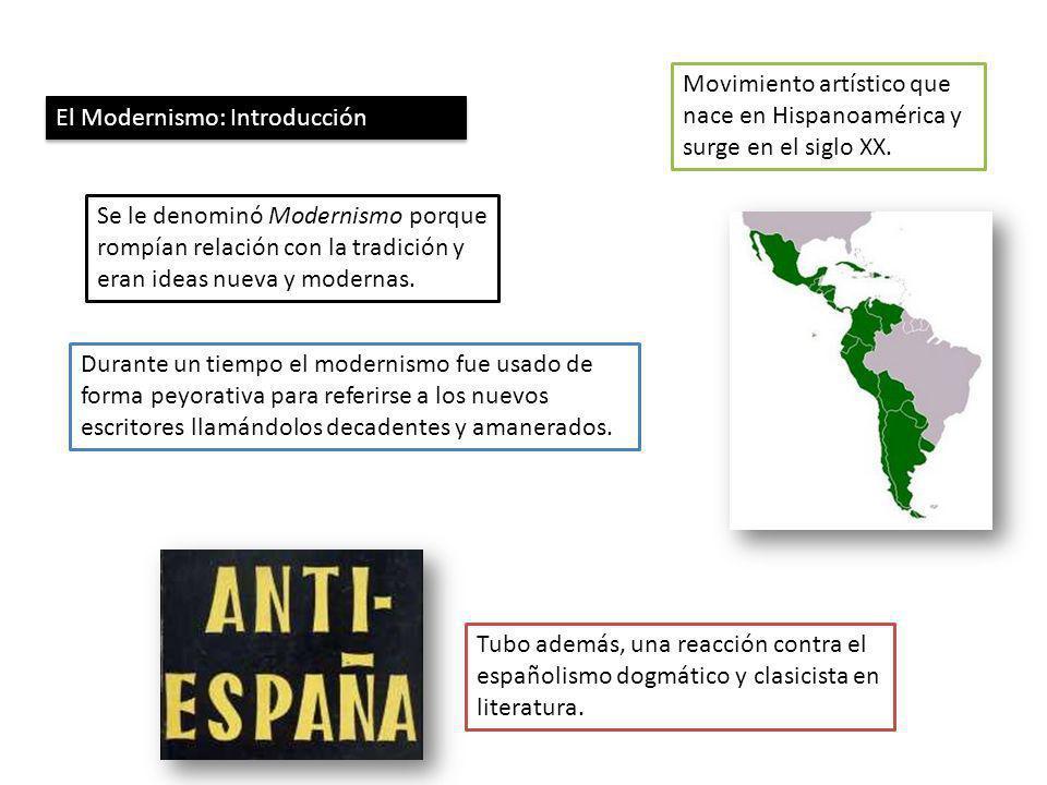 El Modernismo: Introducción Movimiento artístico que nace en Hispanoamérica y surge en el siglo XX. Se le denominó Modernismo porque rompían relación