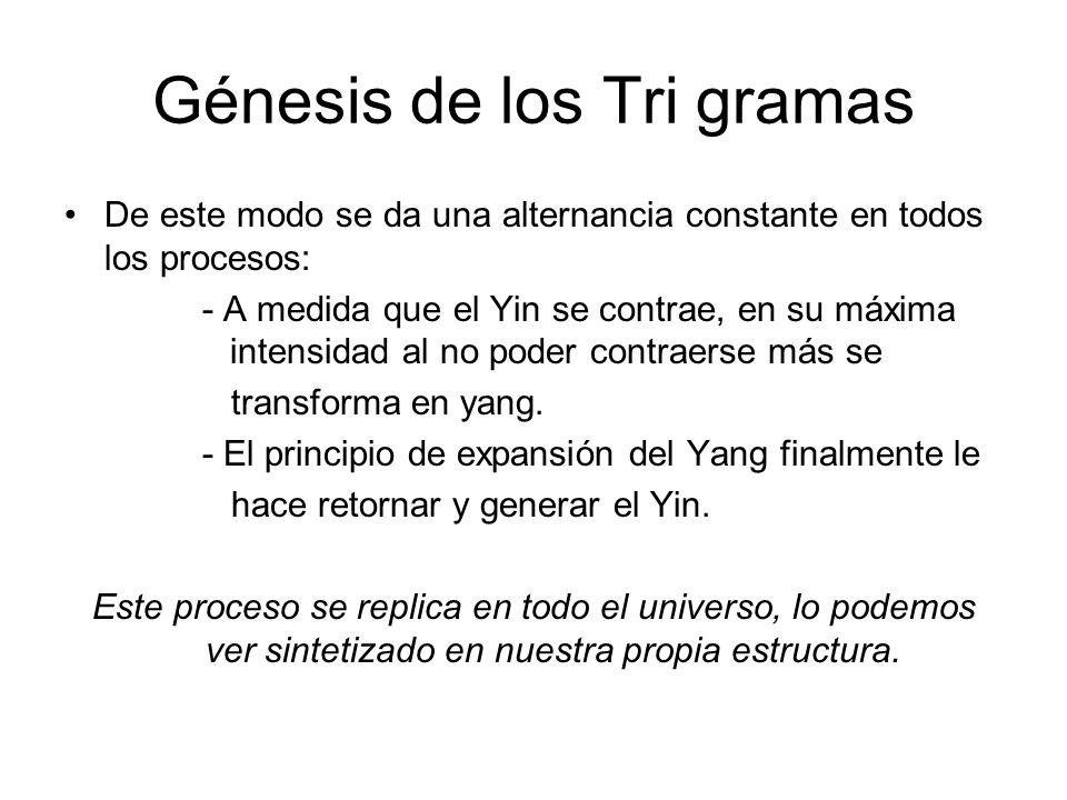 Génesis de los Tri gramas De este modo se da una alternancia constante en todos los procesos: - A medida que el Yin se contrae, en su máxima intensidad al no poder contraerse más se transforma en yang.