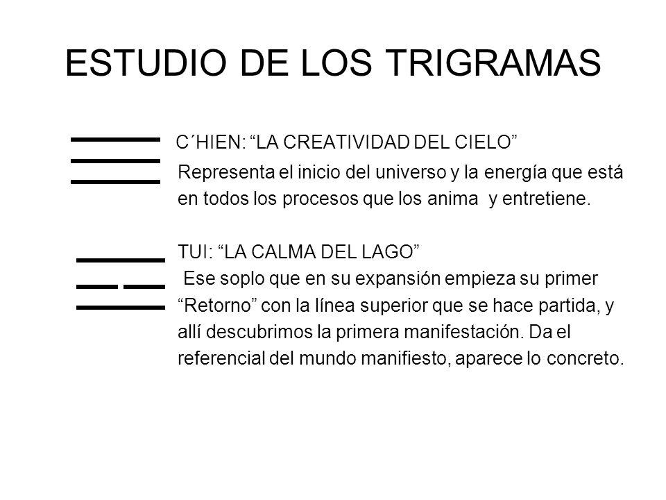 ESTUDIO DE LOS TRIGRAMAS C´HIEN: LA CREATIVIDAD DEL CIELO Representa el inicio del universo y la energía que está en todos los procesos que los anima y entretiene.