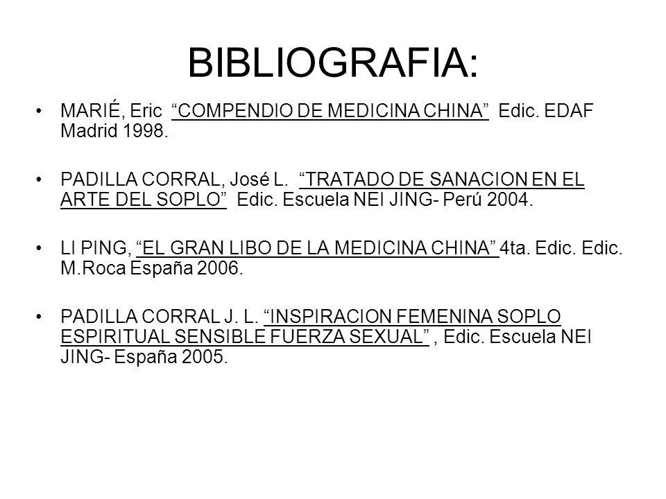 BIBLIOGRAFIA: MARIÉ, Eric COMPENDIO DE MEDICINA CHINA Edic.