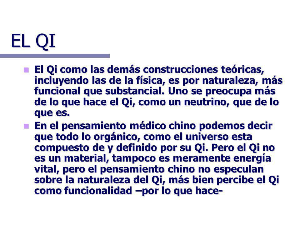 EL QI El Qi como las demás construcciones teóricas, incluyendo las de la física, es por naturaleza, más funcional que substancial. Uno se preocupa más