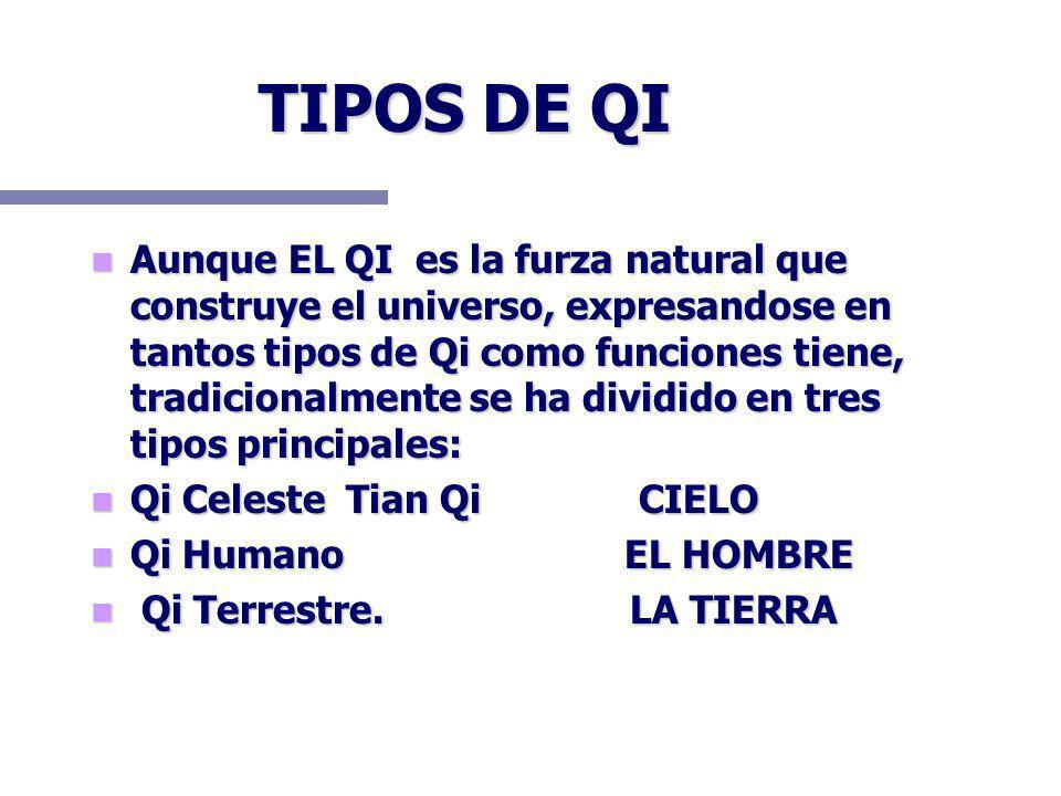 TIPOS DE QI Aunque EL QI es la furza natural que construye el universo, expresandose en tantos tipos de Qi como funciones tiene, tradicionalmente se h