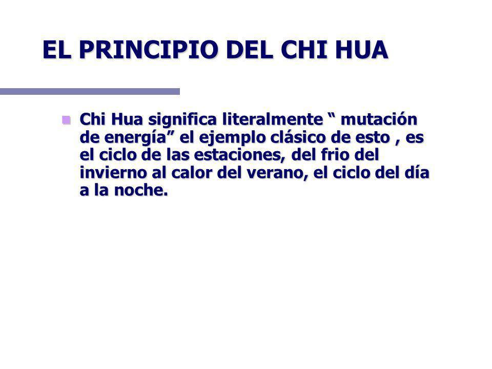 EL PRINCIPIO DEL CHI HUA Chi Hua significa literalmente mutación de energía el ejemplo clásico de esto, es el ciclo de las estaciones, del frio del invierno al calor del verano, el ciclo del día a la noche.