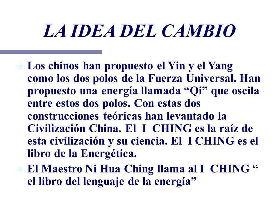 Los chinos han propuesto el Yin y el Yang como los dos polos de la Fuerza Universal. Han propuesto una energía llamada Qi que oscila entre estos dos p
