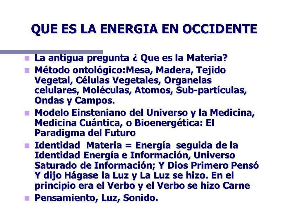 QUE ES LA ENERGIA EN OCCIDENTE La antigua pregunta ¿ Que es la Materia? La antigua pregunta ¿ Que es la Materia? Método ontológico:Mesa, Madera, Tejid