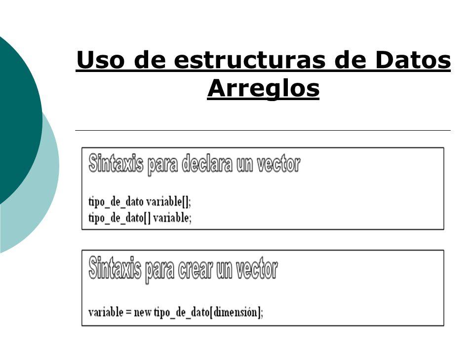 Uso de estructuras de Datos Arreglos