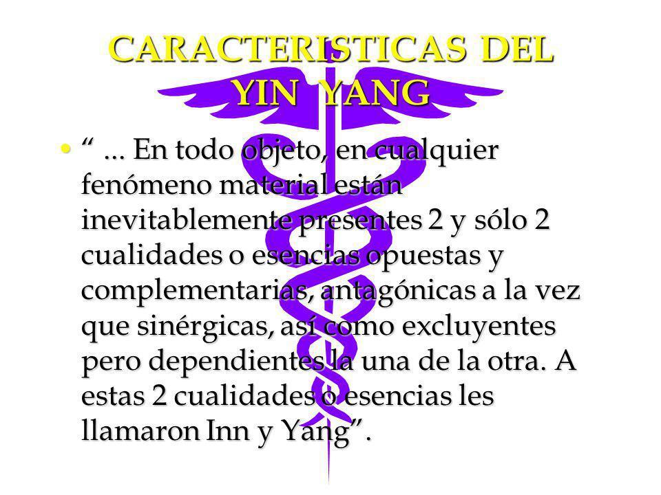CARACTERISTICAS DEL YIN YANG... En todo objeto, en cualquier fenómeno material están inevitablemente presentes 2 y sólo 2 cualidades o esencias opuest