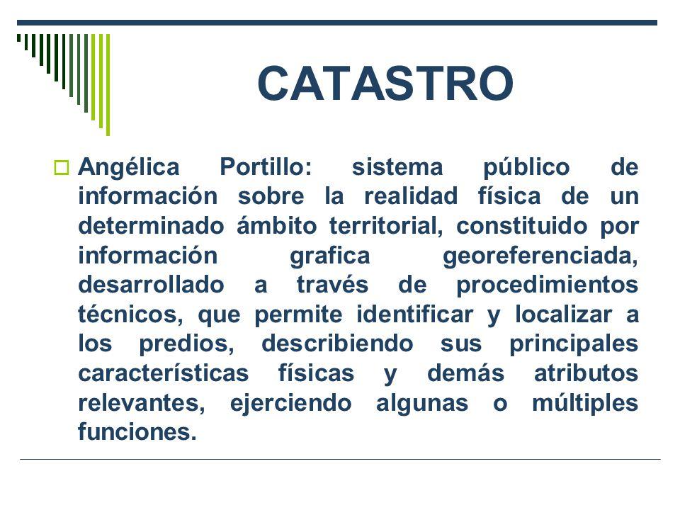 CATASTRO Angélica Portillo: sistema público de información sobre la realidad física de un determinado ámbito territorial, constituido por información