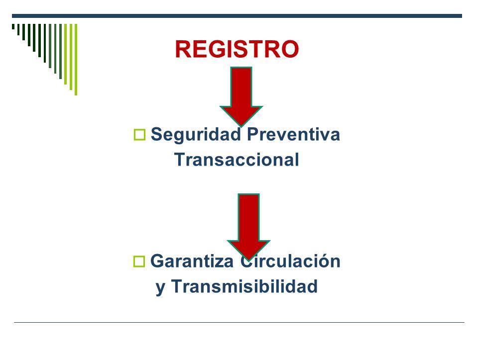 REGISTRO Seguridad Preventiva Transaccional Garantiza Circulación y Transmisibilidad