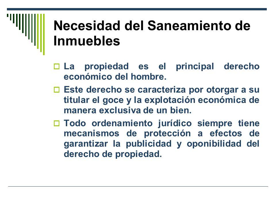 Necesidad del Saneamiento de Inmuebles La propiedad es el principal derecho económico del hombre. Este derecho se caracteriza por otorgar a su titular