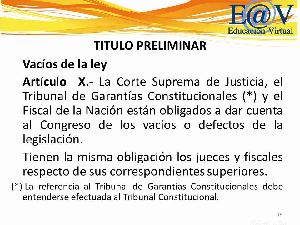 15 TITULO PRELIMINAR Vacíos de la ley Artículo X.- La Corte Suprema de Justicia, el Tribunal de Garantías Constitucionales (*) y el Fiscal de la Nació