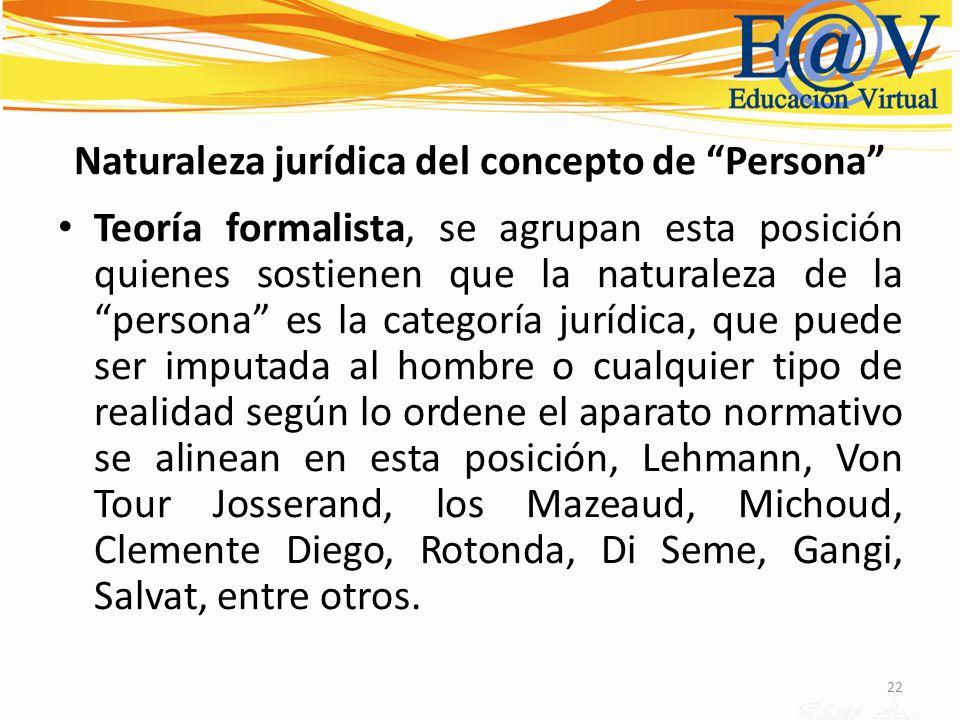 22 Naturaleza jurídica del concepto de Persona Teoría formalista, se agrupan esta posición quienes sostienen que la naturaleza de la persona es la cat